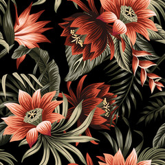 Tropical vintage red lotus flower, palm leaves floral seamless pattern black background. Exotic jungle wallpaper.