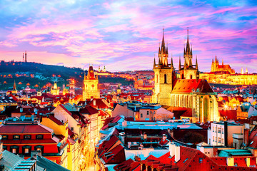 Amazing cityscape view of Prague Castle and church of our Lady Tyn, Czech Republic during sunset...