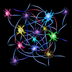 Synapses of neurons. Neural communications background. Synapse communication neuron. Vector illustration on black isolated background.