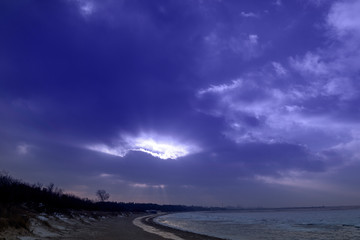 Canvas Prints Violet Cold winter day by Baltic sea.