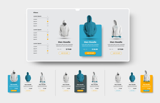 Vector UI set of product cards for the online store and e-commerce with button and price tag.