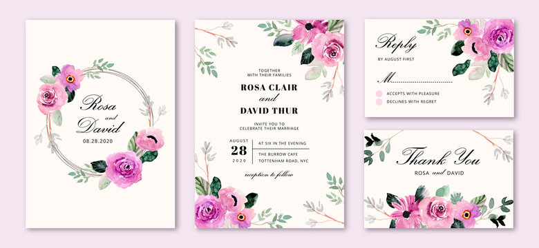 wedding invitation set with purple flower frame watercolor