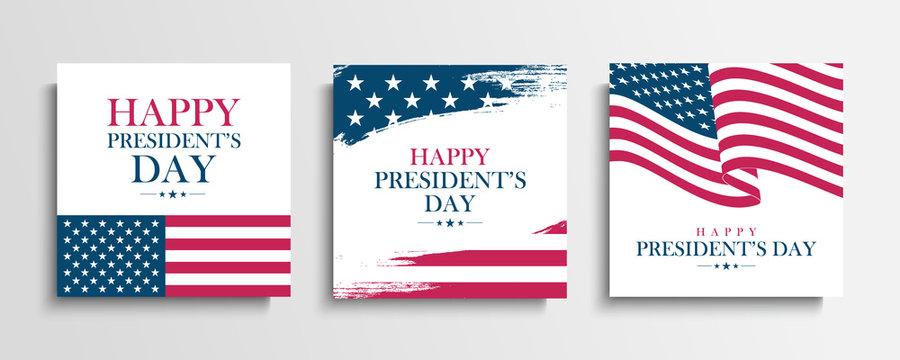 USA President's Day greeting cards set with United States national flag. Washington's birthday. United States national holiday vector illustration.