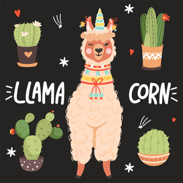 """Cute cartoon alpaca with a unicorn horn. """"Llamacorn"""" inspirational lettering phrase with cactus, heart and stars. Vector illustration for cards, t-shirts, children print, sticker, posters etc."""