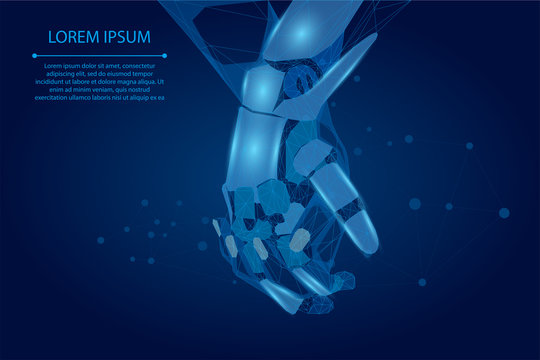Abstract mash line and point human and robot hands together. Future technological business. Low poly artificial intelligence vector illustration