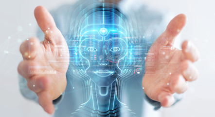 Businessman using digital artificial intelligence head interface 3D rendering