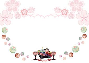 ひな人形と手毬に雪洞やひなあられと菱餅の横スタイル背景素材