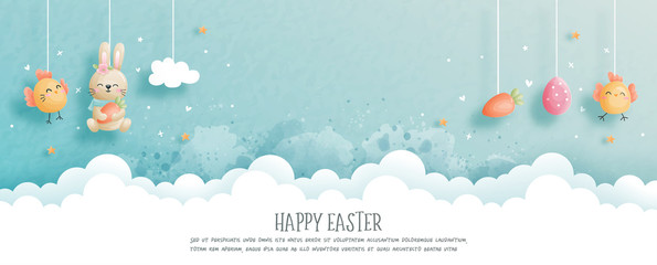 Easter card with cute bunny and Easter egg in paper cut style. Vector illustration