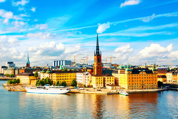 In de dag Stockholm Beautiful panoramic view of Stockholm Old town Gamla Stan. Summer sunny day in Stockholm, Sweden.