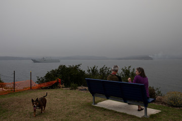 Robin Malcolm, David Richardson and their dog Pip enjoy the view from the Eden Lookout as smoke blankets the area, with the Royal Australian Navy vessel HMAS Adelaide seen in the background in the town of Eden