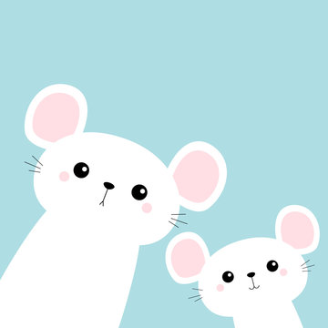 Two white mouse set in the corners. Cute cartoon funny kawaii baby character. Happy New Year 2020 sign symbol. Merry Christmas. Flat design. Blue winter background.