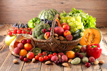 Photo sur Aluminium Cuisine assorted of fruit and vegetable in wicker basket