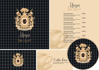 Vector set of design elements for coffee house in retro style. Menu, business cards and drink stands with vintage coat of arms and hand-drawn cup on a black checkered background
