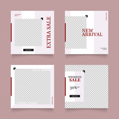 editable social media post for fashion banner. red pink color square frame. advertisement layout vector illustration