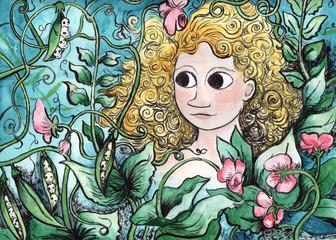Poster Aquarel Schedel Blonde Girl in a Garden Scene Illustration
