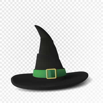 Realistic witch hat. Halloween cup. Isolated on transparent background. Vector illustration.