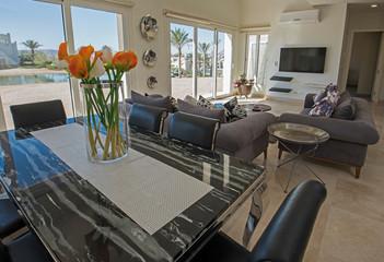 Interior design of luxury villa living room