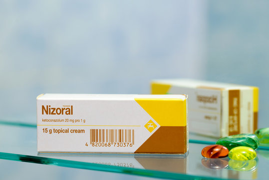 Kiev/Ukraine - August 27, 2017 - Nizoral cream contains the active ingredient ketoconazole, which is a type of medicine called an antifungal. It is used to treat infections with fungi and yeasts.