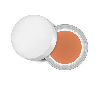 Open jar of cream makeup foundation, blush, eyeshadow or other makeup product top view isolated on white background, realistic vector illustration