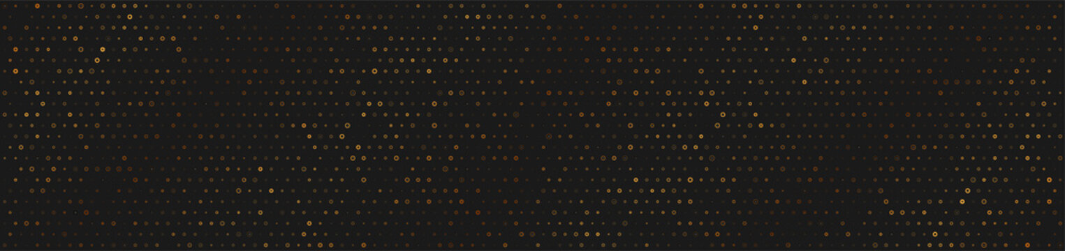 Small golden dots abstract technology web banner design. Bronze geometric futuristic background. Vector illustration