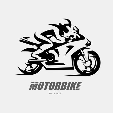 Speed bike racer on the sport motorcycle, stylized vector symbol