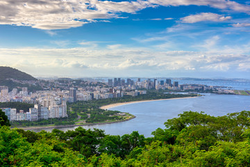 Fototapete - View of Flamengo beach and Centro in Rio de Janeiro, Brazil. Skyline of Rio de Janeiro.
