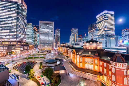 東京駅丸の内口から見た東京駅(2020年1月)