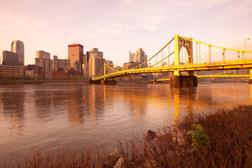 Skyline of downtown with Andy Warhol Bridge over the Allegheny River, Pittsburgh, Pennsylvania, USA