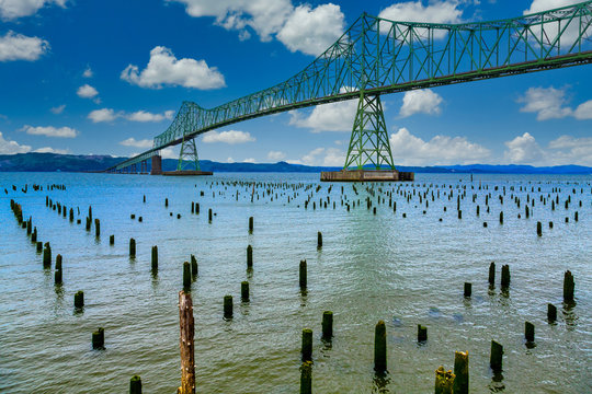 Green steel bridge in Astoria Oregon