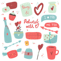 Cute Valentins set, hand drawn doodle elements clipart, gifts,mug, holiday mugs, leter. Perfect for web, greeting card, poster, tag, sticker kit.Vector.