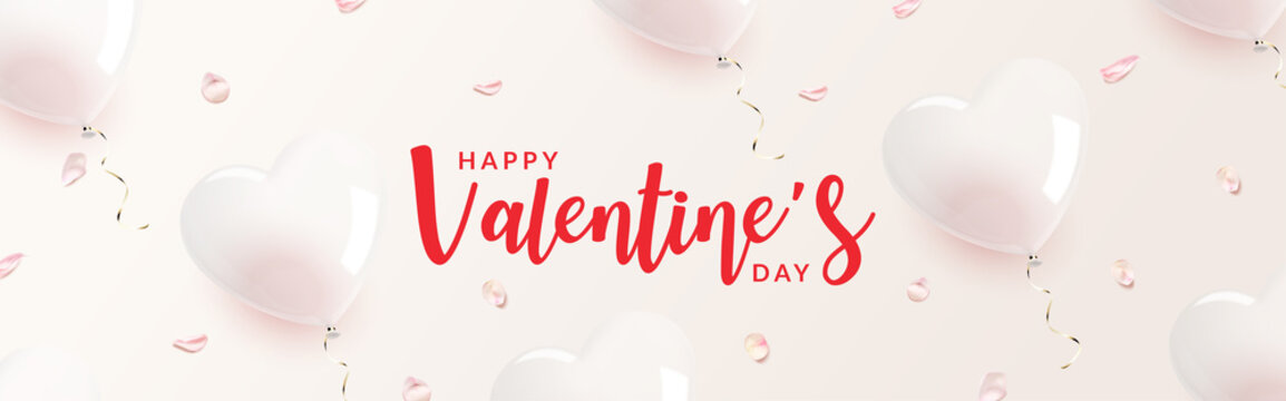 Heart shaped transparent balloon with rose petals banner