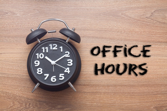 Office hours -  Business handwriting with clock