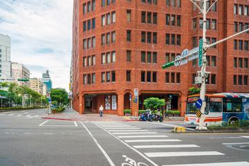 TAIPEI, TAIWAN - July 2, 2019: Road sign on the streets of Taipei, Taiwan