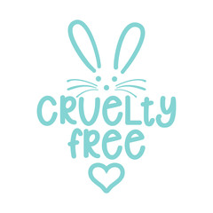 Cruelty free logo with cute bunny - Handwritten label and rabbit drawning. Lettering poster t-shirt textile graphic design. Beautiful illustration. Not tested on animals icon.