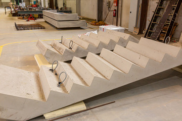 Picture of manufacturing a precast concrete stair in a German factory