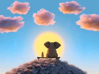 Aluminium Prints Blue elephant and dog are sitting on a hill at sunset