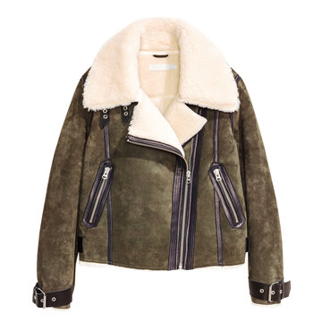 Women's Brown Shearling Coat Isolated on White Background. Stylish Winter Cropped Jacket with Wide Lapels and Sweeping Hemline. Best Breathable Warm Outdoor Clothing for Hiking Travel. Zipped Pockets