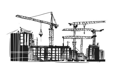 Building construction. Sketch of industrial landscape. Hand drawn illustration converted to vector