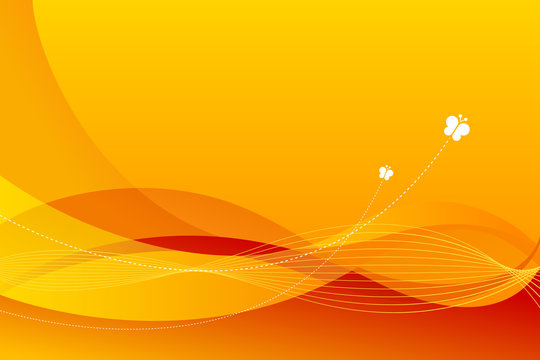 Abstract spring and summer background with copy space, curly shapes and vibrant yellow and orange colors