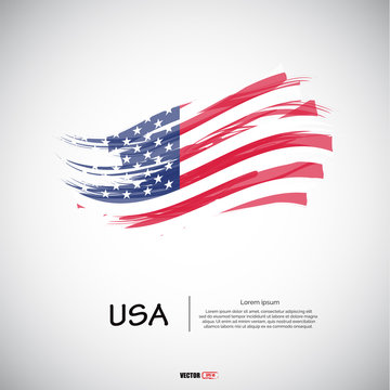 Flag of USA with  brush stroke, grunge style background vector.