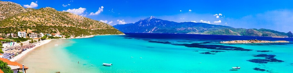 Amazing turquoise beaches of Samos island - beautiful Psili Ammos. Greece