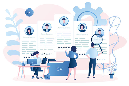 Recruitment agency and five cv resume. Business people looking for workers and hiring, recruiting concept.