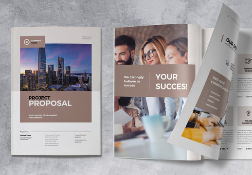 Proposal Brochure Layout with Brown Accents