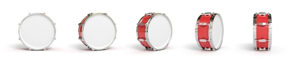 Drum on background. Music instrument. 3D rendering.