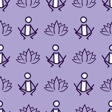 Stick figure yoga pose with lotus flower seamless vector pattern. Hand drawn peace zen and wellness background. Physical exercise fitness home decor. Health aerobics all over print.