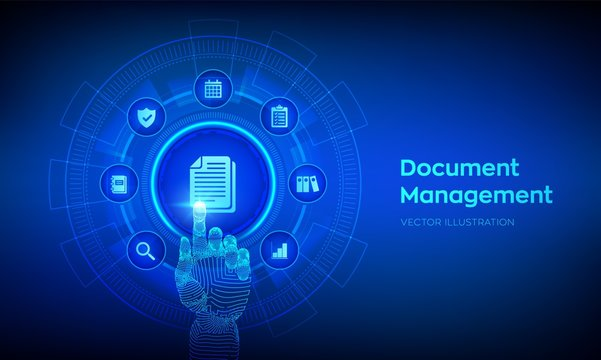 DMS. Document Management Data System. Corporate data management system. Privacy data protection. Business Internet Technology Concept. Robotic hand touching digital interface. Vector illustration.