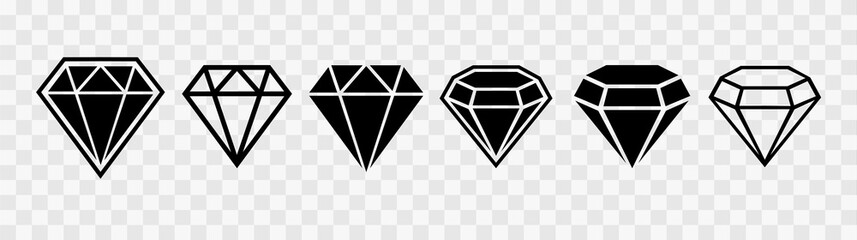 Diamond set icon. Vector illustration. Simple flat icon