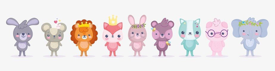 cute animals, little group rabbit lion pig elephant cat fox bear and mouse cartoon Fotomurales