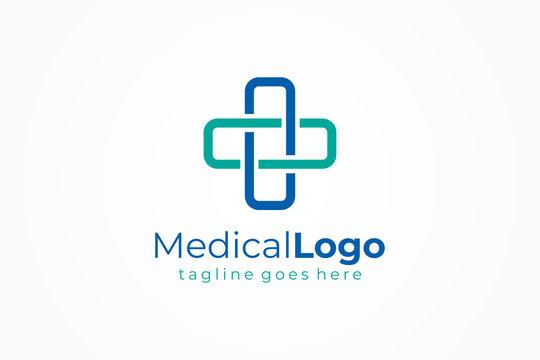 Cross Line Medical Logo Health Symbol Pharmacy Icon. Flat Vector Logo Design Template Element