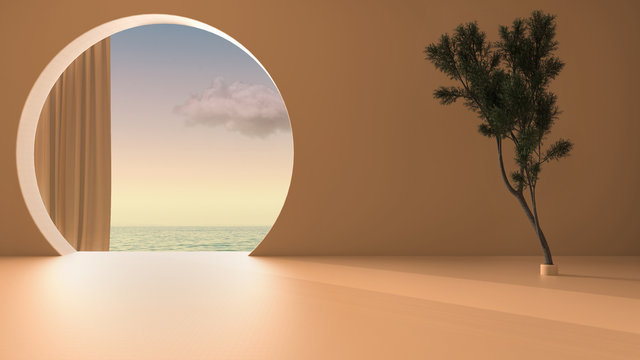 Imaginary fictional architecture, interior design of empty space with round arched window with curtain, concrete orange walls, potted pine tree, sunrise sunset sea panorama with cloud